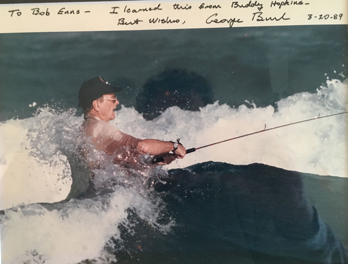 George Bush surf-fishing