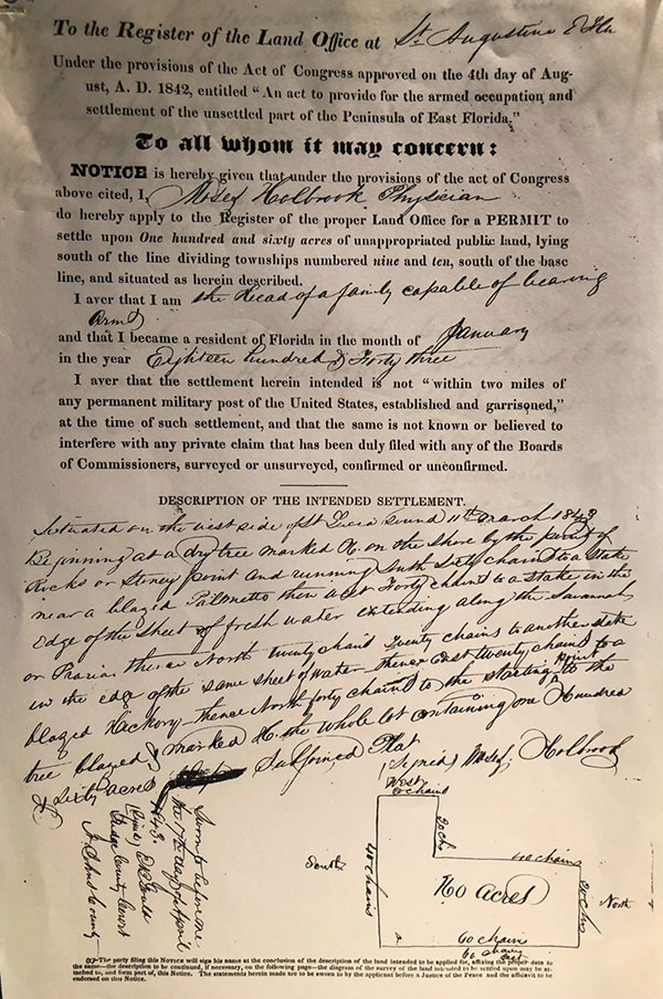 permit for Moses Holbrook