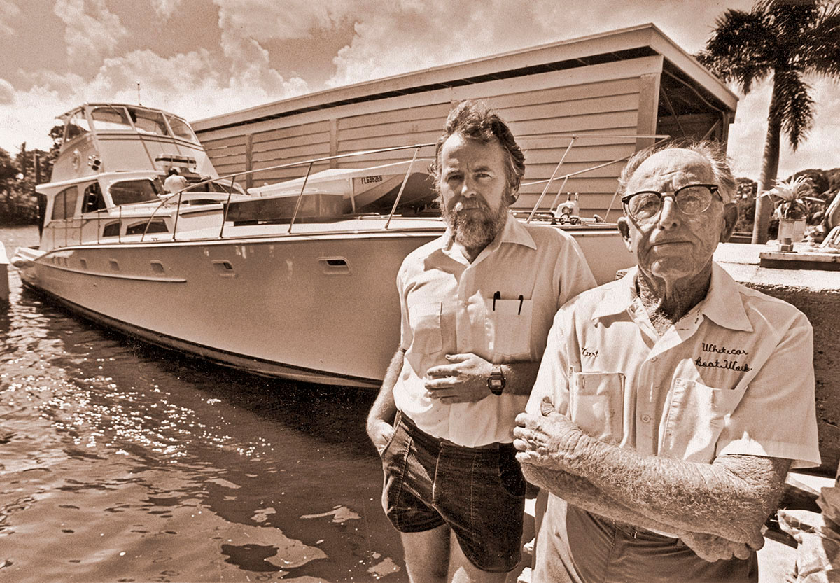 Curt Whiticar, founder of Whiticar Boat Works, and his son, John