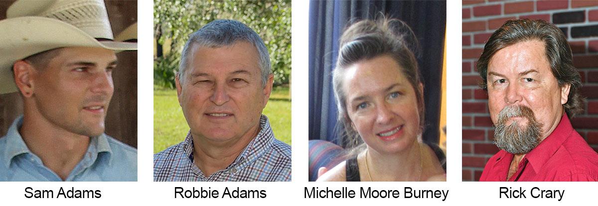Sam Adams, Robbie Adams, Michelle Moore Burney, Rick Crary