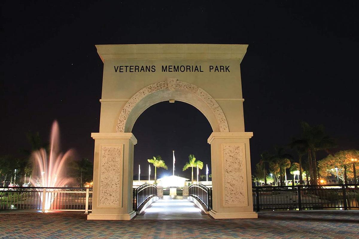 Veterans memorial park archway